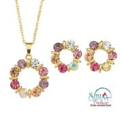 Necklace Gold Multicolour Stone Circle