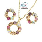 Sibia Palace Set Earring Necklace Gold Multicolour Stone Circle Side
