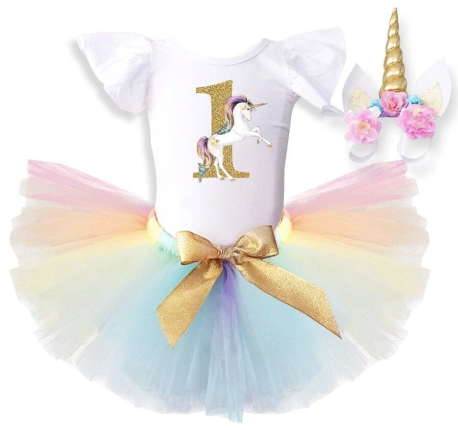 72b28e3eb Sibia Palace Rainbow One Unicorn Theme Baby Girl 1st Birthday Outfit