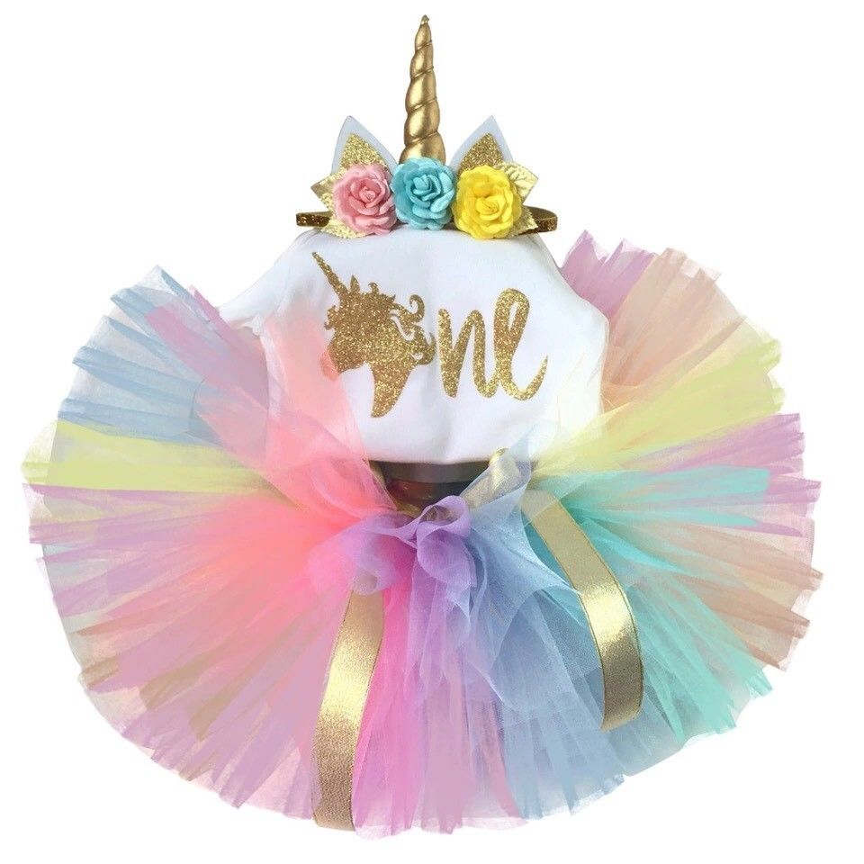 4992f3330 Sibia Palace Rainbow Unicorn Theme Baby Girl 1st Birthday 3 Outfit Set
