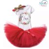 Sibia Palace Red Wreath One Baby Girl 1st Birthday Dress Outfit 3Pcs Set