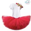 Sibia Palace Red Wreath One Baby Girl 1st Birthday Dress Outfit 3Pcs Set Back