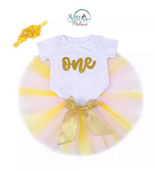 2c8f7aa35bdb6 Sibia Palace Baby Girl One First Birthday Outfit Dress Pink Yellow Outfit