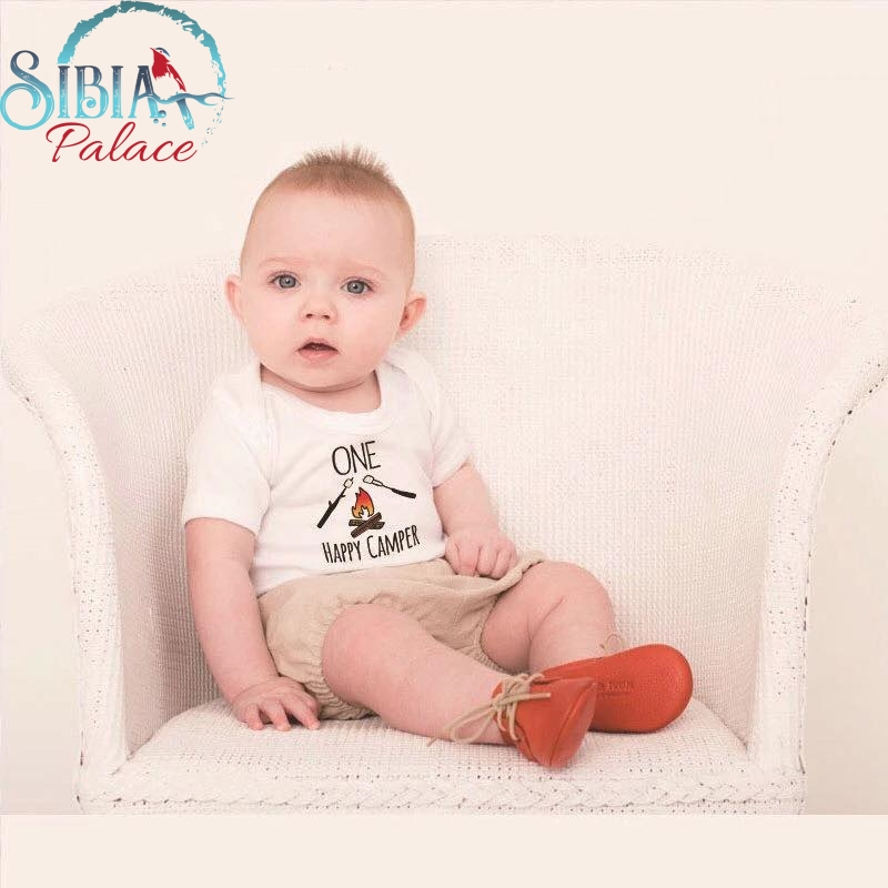 8b3649ae0dc Sibia Palace Baby Unisex First Birthday One Happy Camper Romper