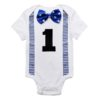Sibia Palace Baby Boy My First Birthday Romper One Blue Bow Tie