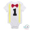 Sibia Palace Baby Boy My First Birthday Romper One Red Yellow Bow