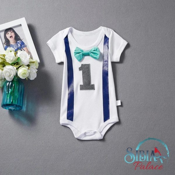 5ee826781cb Sibia Palace Baby Boy One First Birthday Romper Teal Bow