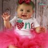 Sibia Palace Baby Girl 1st Birthday My Strawberry Rose Pink Outfit Dress Girl