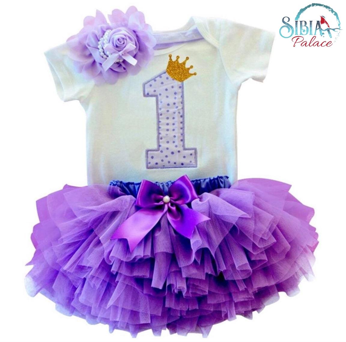 65e627469a29e Sibia Palace Baby Girl 1st Birthday Princess Theme Purple Glitter Outfits