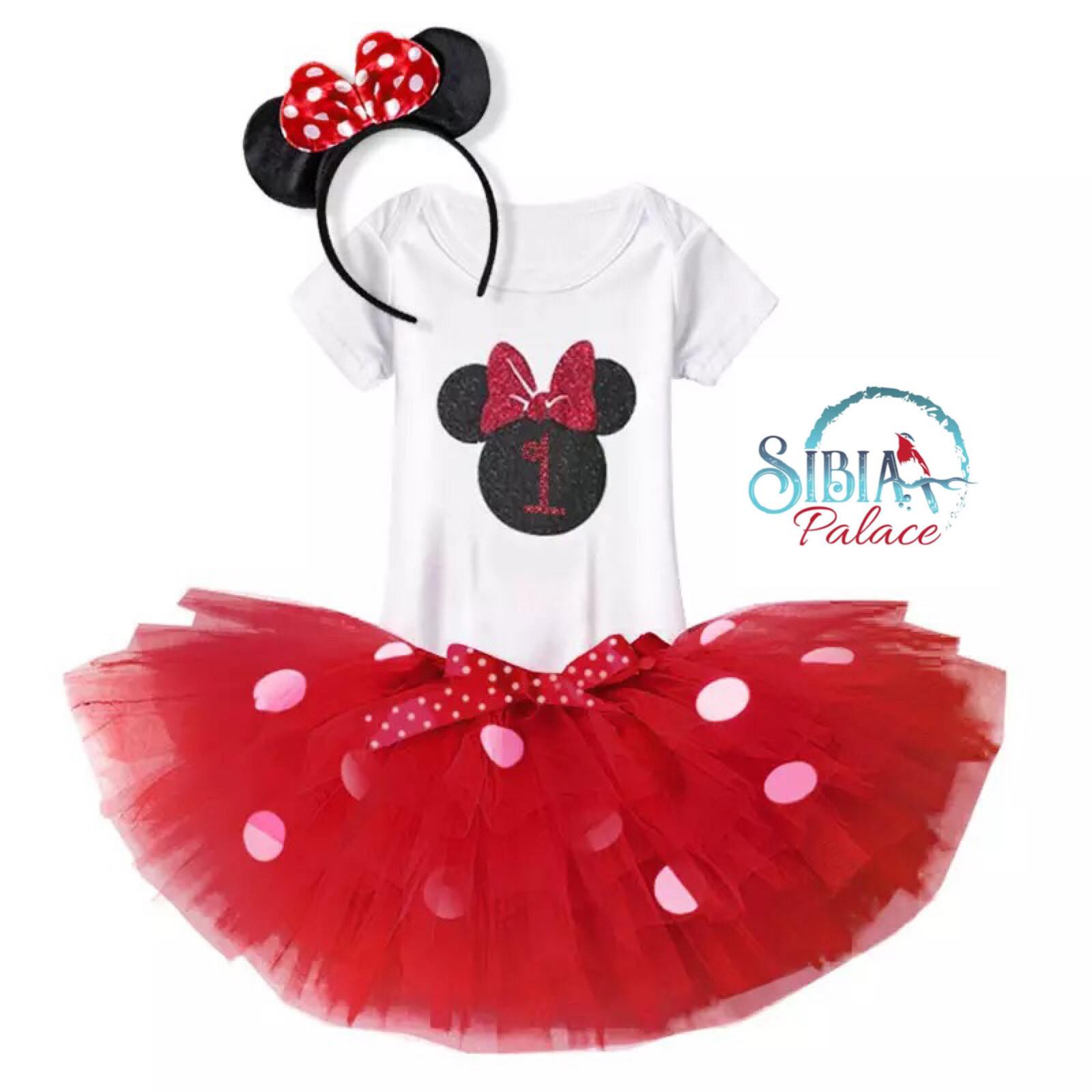 21425b4c6503 Sibia Palace Baby Girl First Birthday Minnie Mouse Theme Red Outfit Set