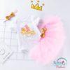 Sibia Palace First Birthday Cake Print New Design Baby Pink 3PCS BABY GIRL SET