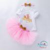 Sibia Palace First Birthday Cake Print New Design Baby Pink 3PCS SET