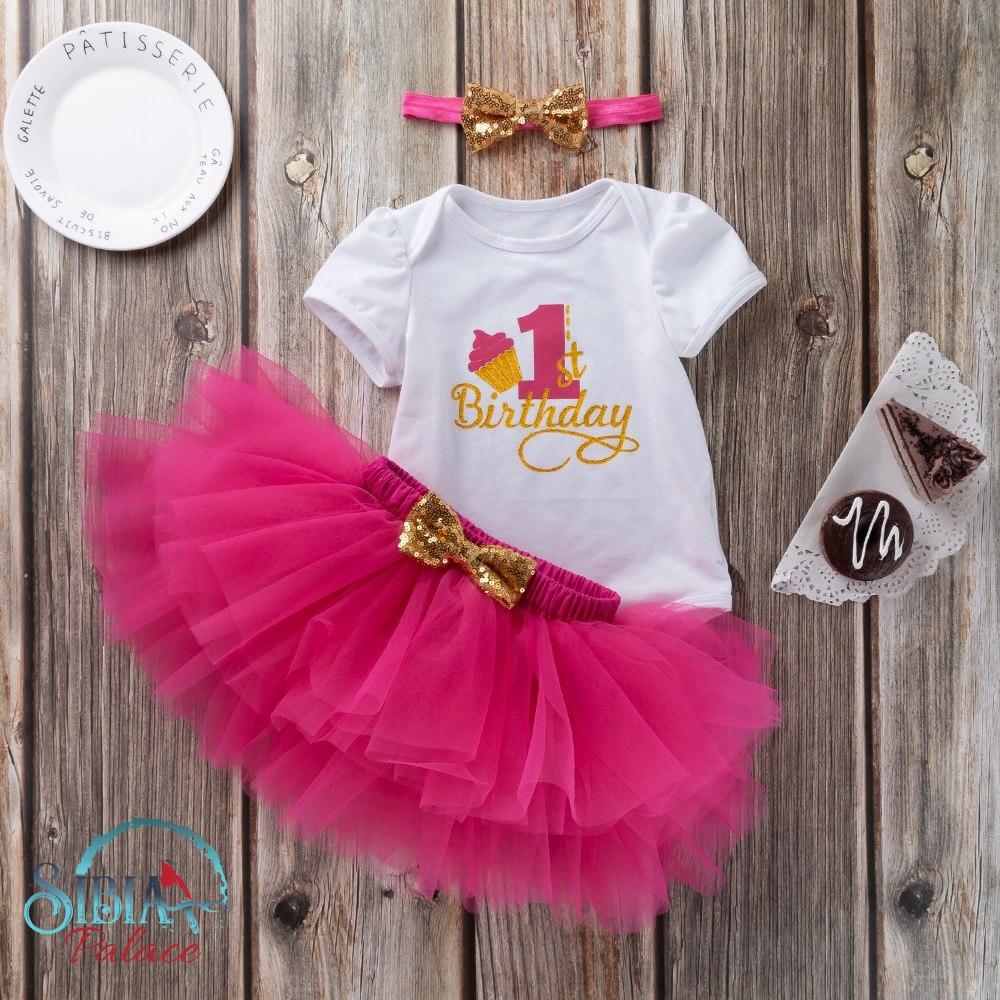 Sibia Palace Baby Girl First Birthday Cake Print Hot Pink 3 Pcs