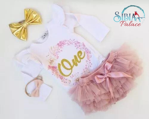423ae09d Sibia Palace Girl Pink Floral Wreath One First Birthday Outfit 2 ...