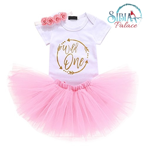 dadef04a029 Sibia Palace Wild One Baby Girl Birthday Outfit Pink 3Pcs Set Gold Closeup.  Wild One Sibia Palace 1st Birthday Princess Romper