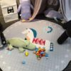 Sibia Palace White Friendly Horse Baby Tummy Time Mat Kids Play Rug Grey