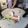 BSibia Palace White Friendly Horse Baby Tummy Time Mat Kids Play Rugs