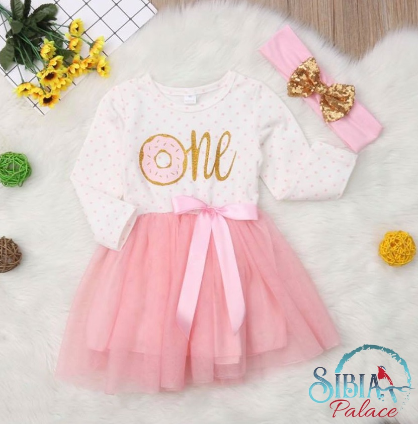 d7536e19 Sibia Palace Baby Girl My Donuts 1st Birthday Dress Set