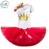 Sibia Palace Baby Girl 2nd Birthday Red Glitter Crown Outfit Dress Set