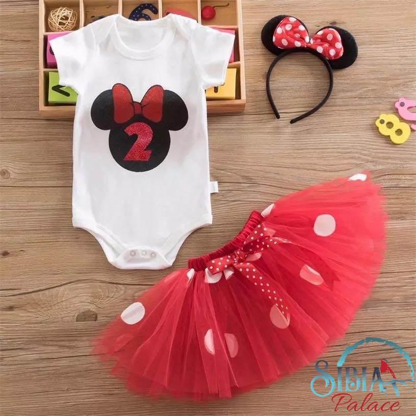 cabcc3083f1fd Sibia Palace Baby Girl 2nd Birthday Red Minnie Mouse Outfit Dress Set ...