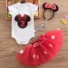 Sibia Palace Baby Girl 2nd Birthday Red Minnie Mouse Outfit Dress Set 3 Piece