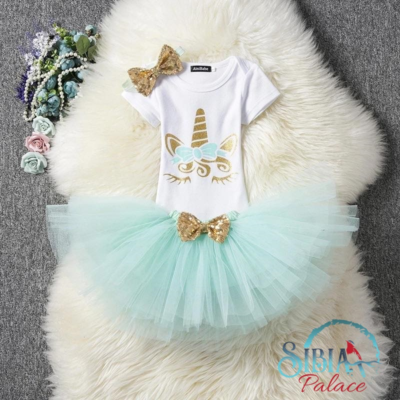 ff4092edfe221 Sibia Palace Baby Girl 2nd Birthday Unicorn Teal Outfit Dress Set Romper  Front