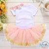 Sibia Palace Baby Girl Yellow Pink 1st Birthday Outfit 3 Piece Set Back
