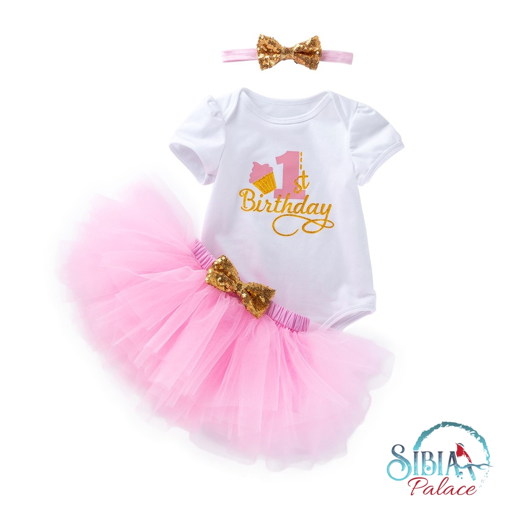 Magnificent Sibia Palace Baby Girl First Birthday Cake Print 3 Pcs Pink Outfit Set Funny Birthday Cards Online Hetedamsfinfo