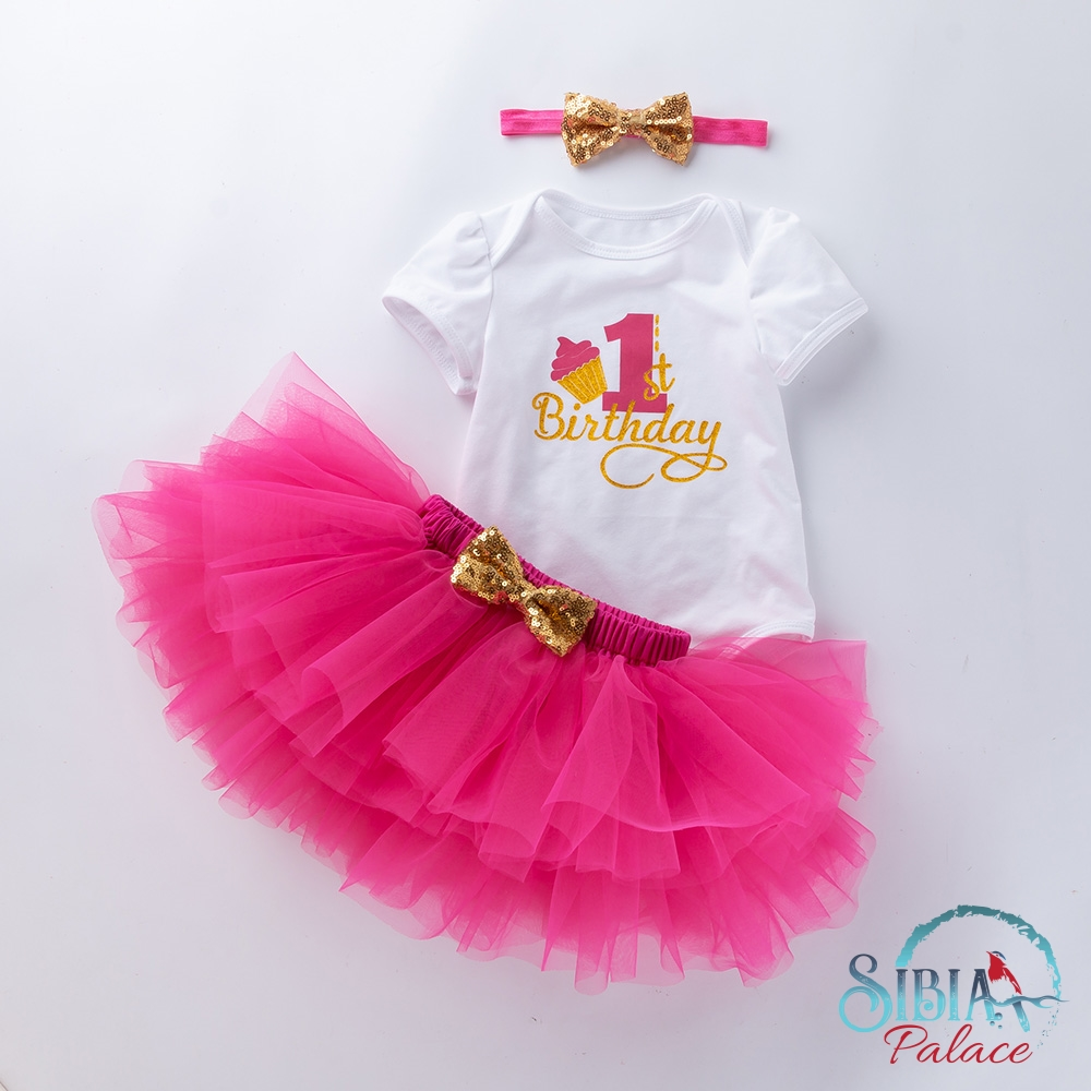 Excellent Sibia Palace Baby Girl First Birthday Cake Print Hot Pink 3 Pcs Funny Birthday Cards Online Overcheapnameinfo