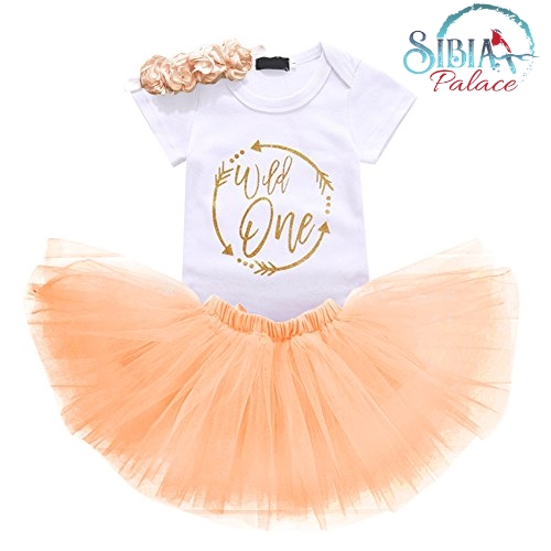 Wild One First 1st Birthday Dress 3pcs Set Cake Smash Peach Photoshoot Baby Girl