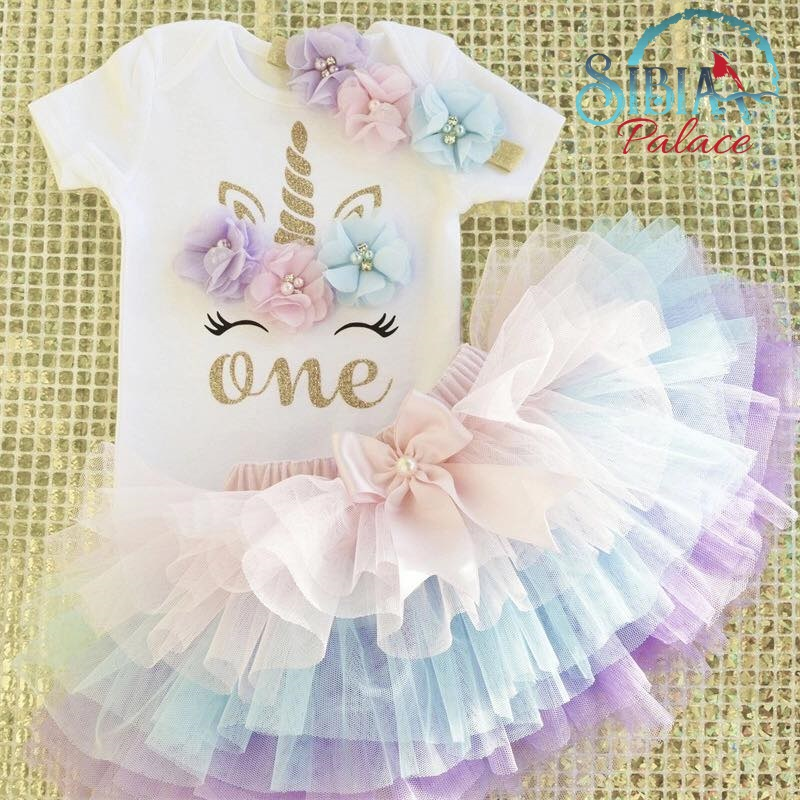 1st Birthday Outfit Girl.Sibia Palace New Pastel Unicorn Theme Baby Girl 1st Birthday Outfit Set