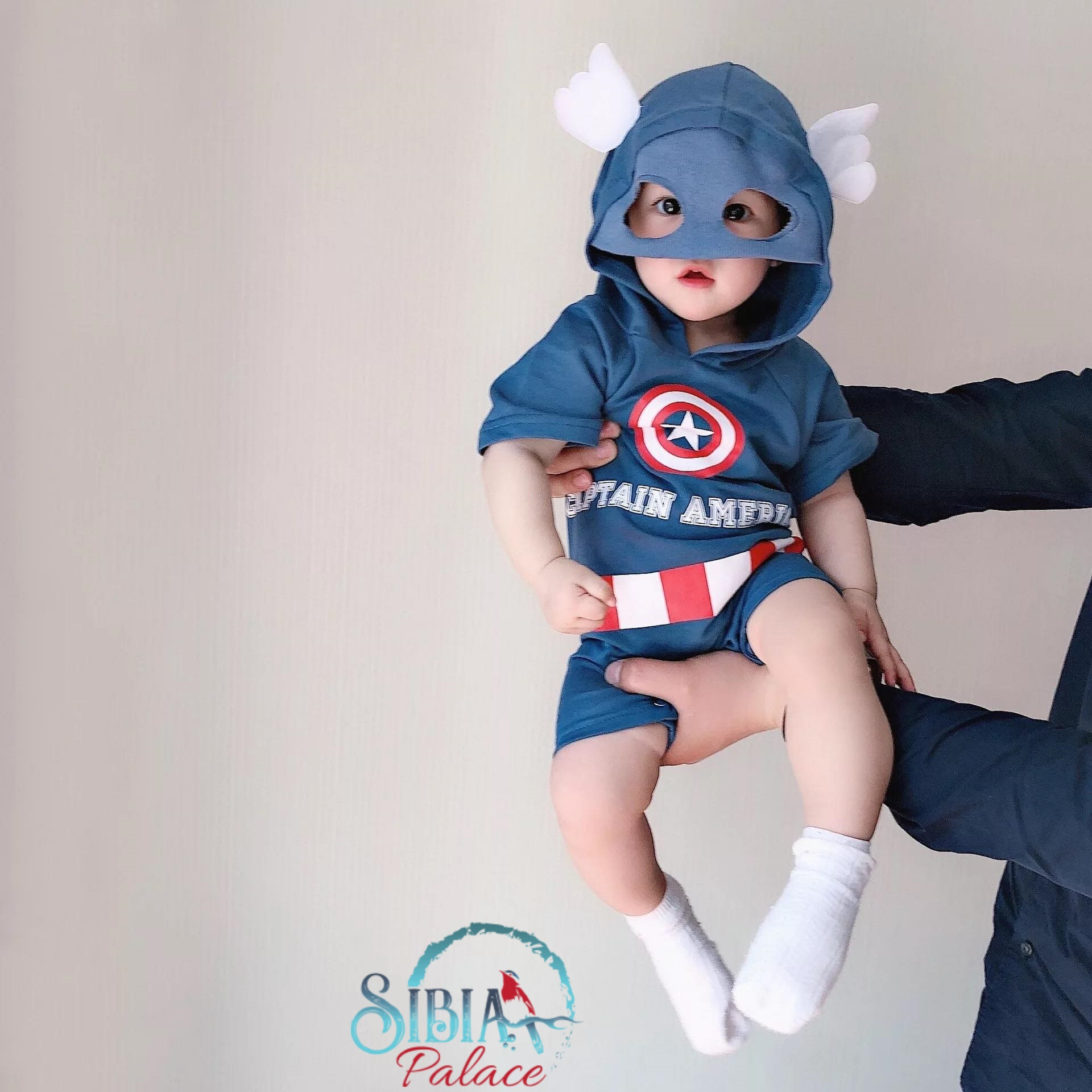 Baby Boy Super Hero First Birthday Cake Smash Photo shoot Romper Captain America