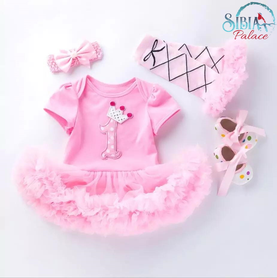 Astounding Baby Girl Pink One Princess 1St Birthday Cake Smash Outfit 4 Pcs Dress Funny Birthday Cards Online Alyptdamsfinfo